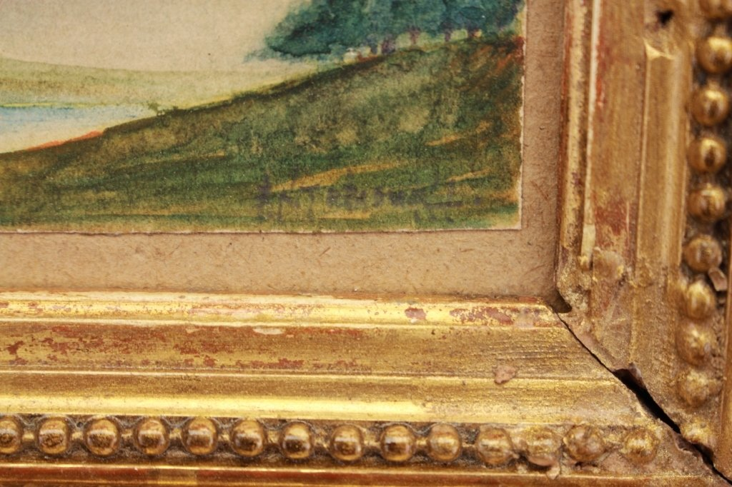 Signed Antique Landscape, Fluted Cove Frame - 3