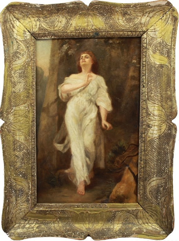 19th C. European School,Painting of Woman in Gown