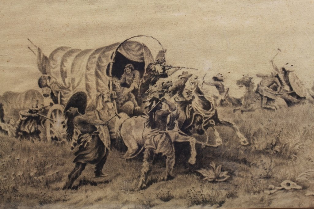 Early 20th C. Signed Western Charcoal Drawing