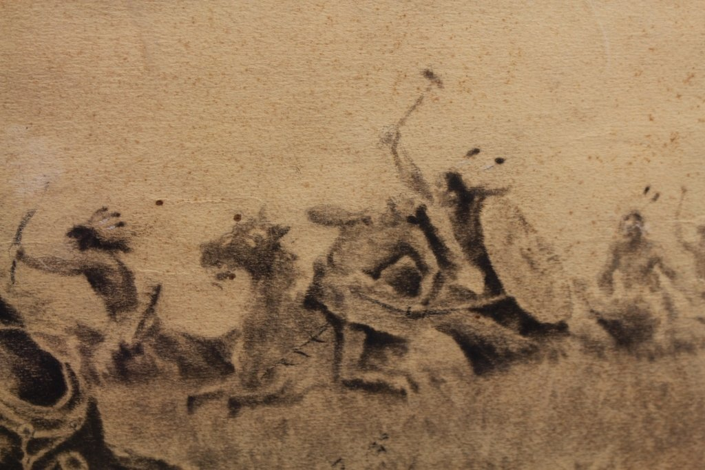 Early 20th C. Signed Western Charcoal Drawing - 3