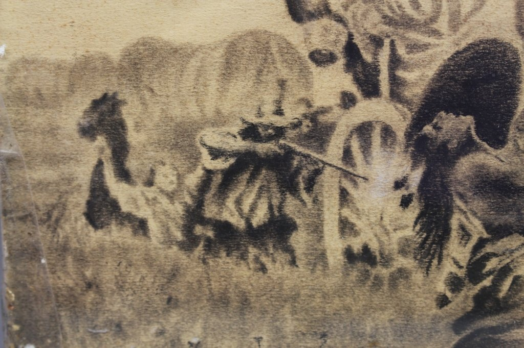 Early 20th C. Signed Western Charcoal Drawing - 4