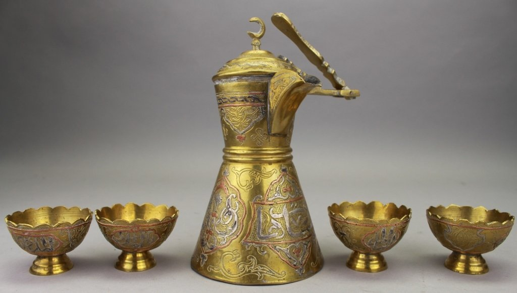Antique Middle Eastern Brass Pitcher, 4 cups