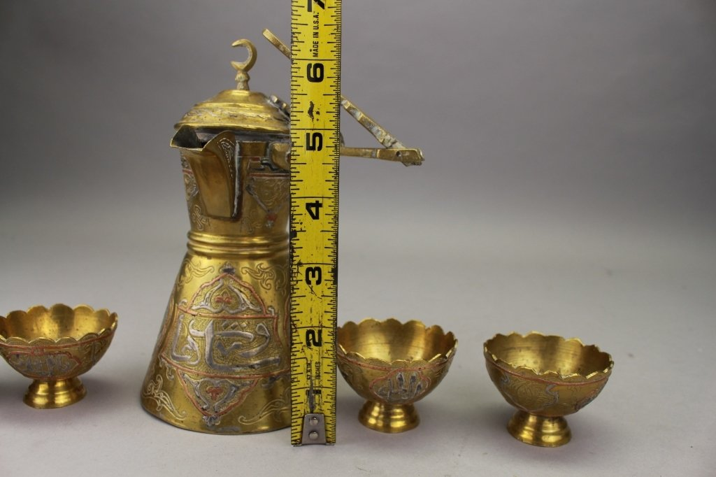 Antique Middle Eastern Brass Pitcher, 4 cups - 4