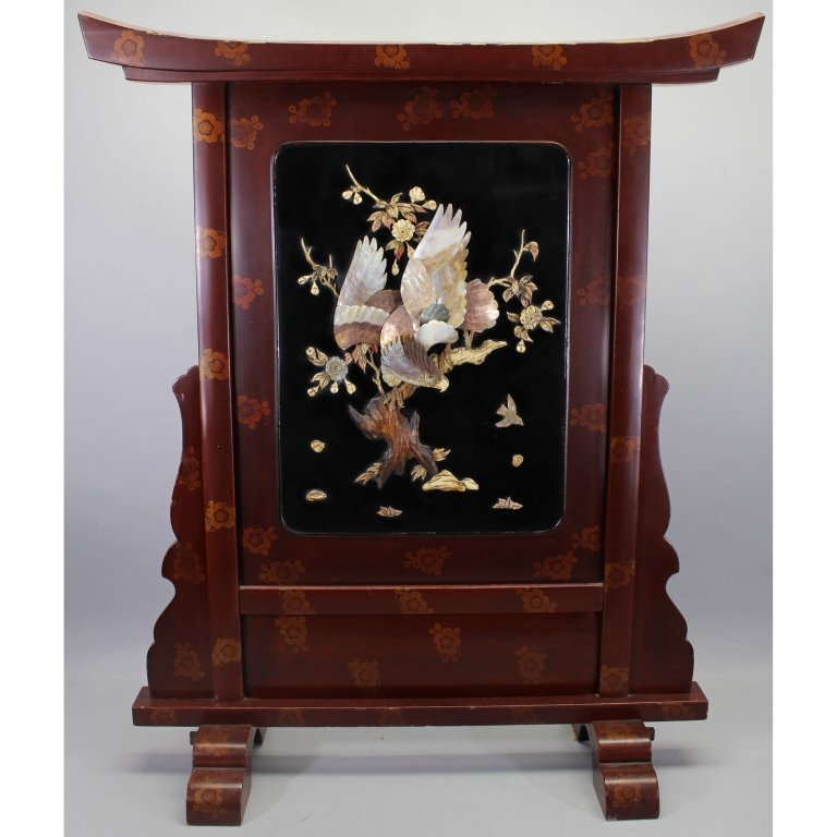 Finely Carved Meiji Period Japanese Fire Screen