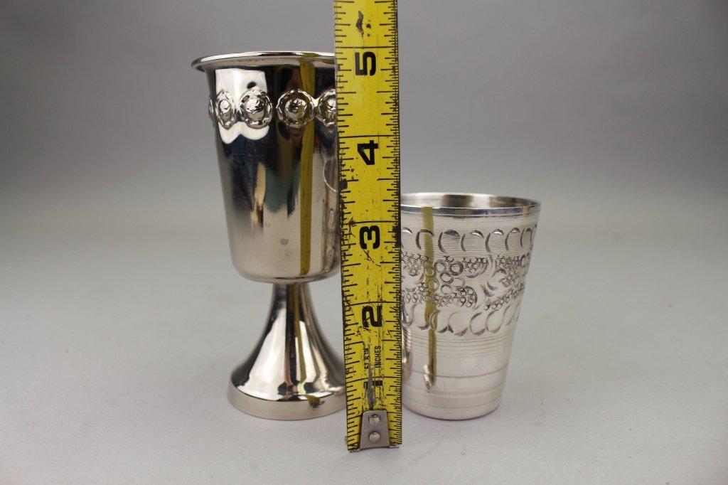 (2) Silver Plate Judaica Cups - 3