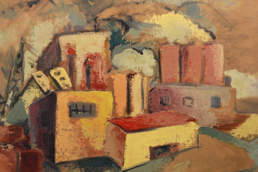 Signed 20th C. American Painting of Factory Scene