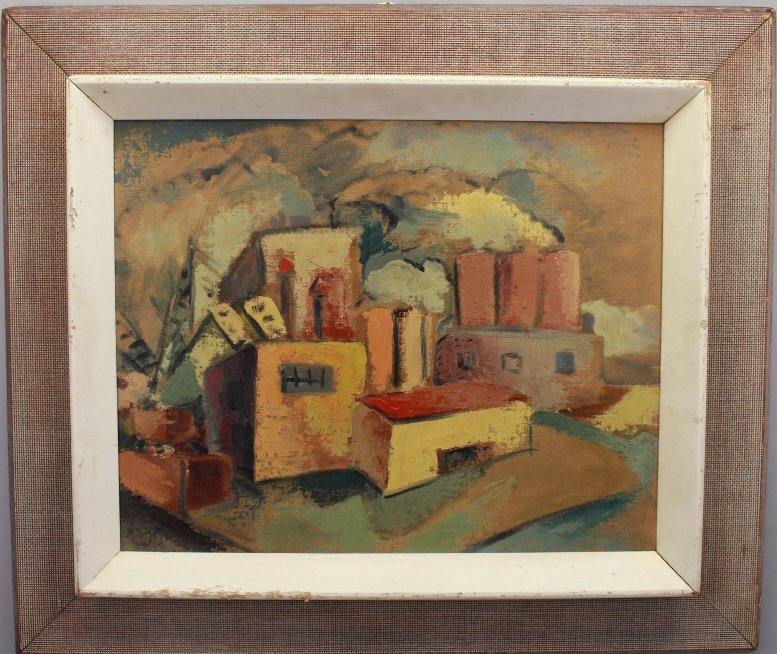 Signed 20th C. American Painting of Factory Scene - 4