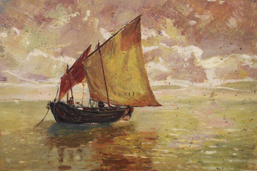 20th C. Impressionist Coastal Scene w/ Sailboats