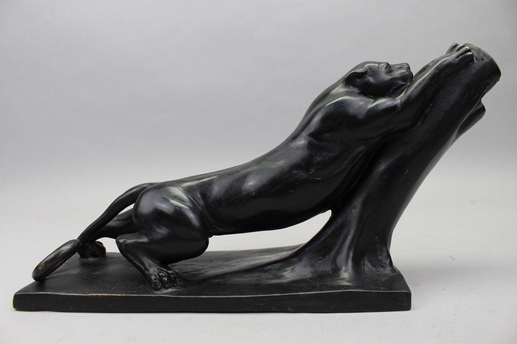Signed Metal Sculpture of Jaguar