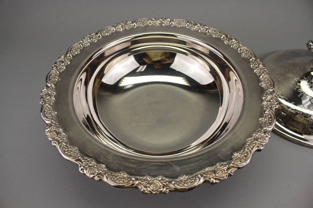 Footed Silver Plate Covered Serving Bowl - 3