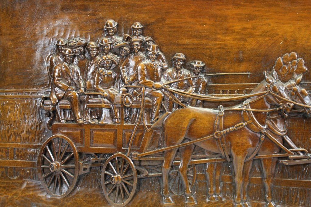 Large Carved Wood Plaque-Horse Drawn Carriage - 2