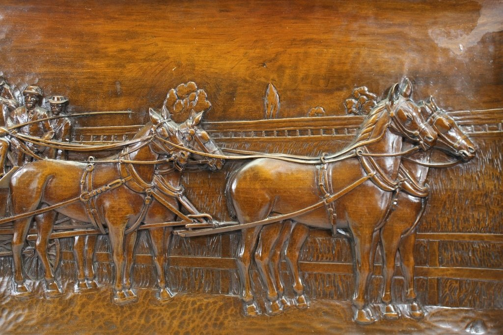 Large Carved Wood Plaque-Horse Drawn Carriage - 3