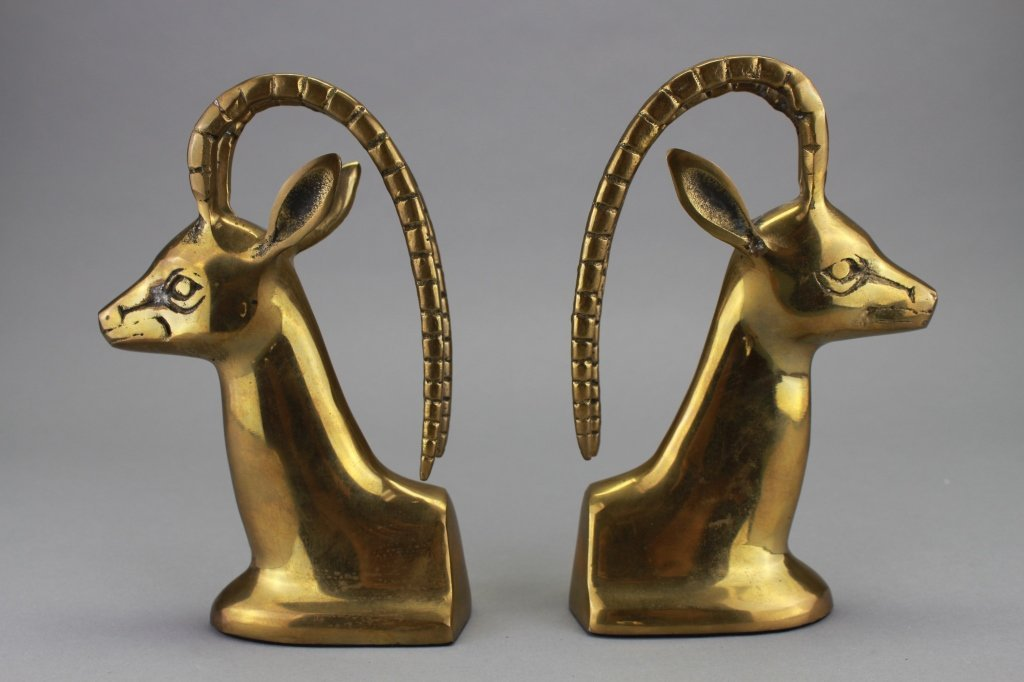 Set of Metal Antelope Head Bookends