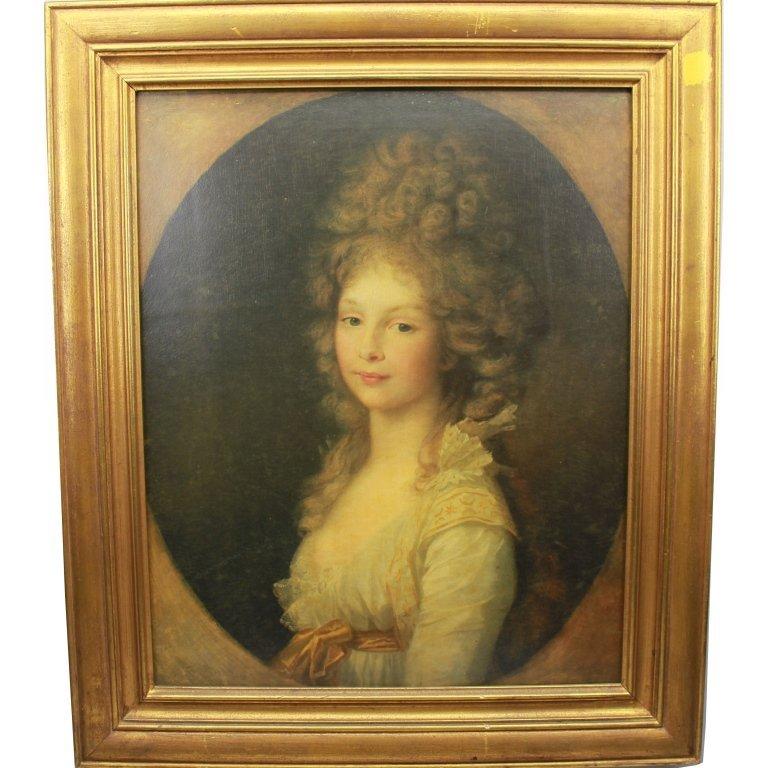 19th C. Framed Print of a European Woman
