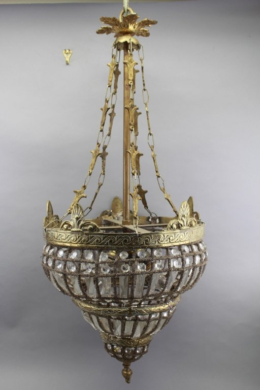 Antique Mixed Metal Crystal Chandelier