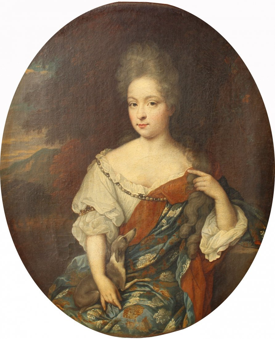 Signed Italian School 17th C. Portrait, Diana