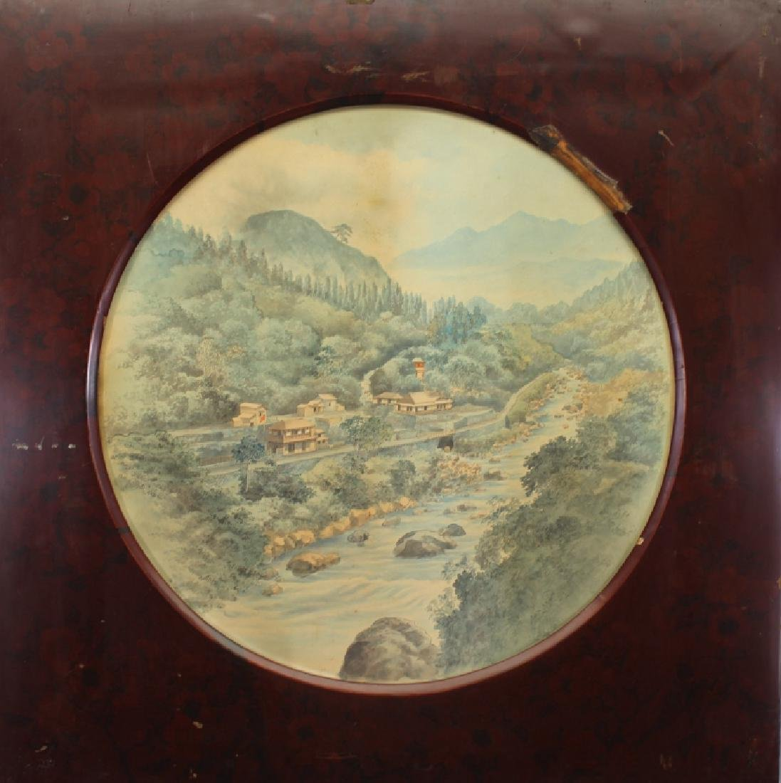19th C. Chinese Watercolor of a Pavillion