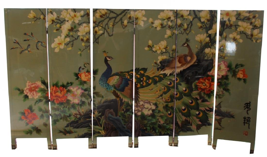20th C. Chinese Cloisonne Enameled 6 part Screen
