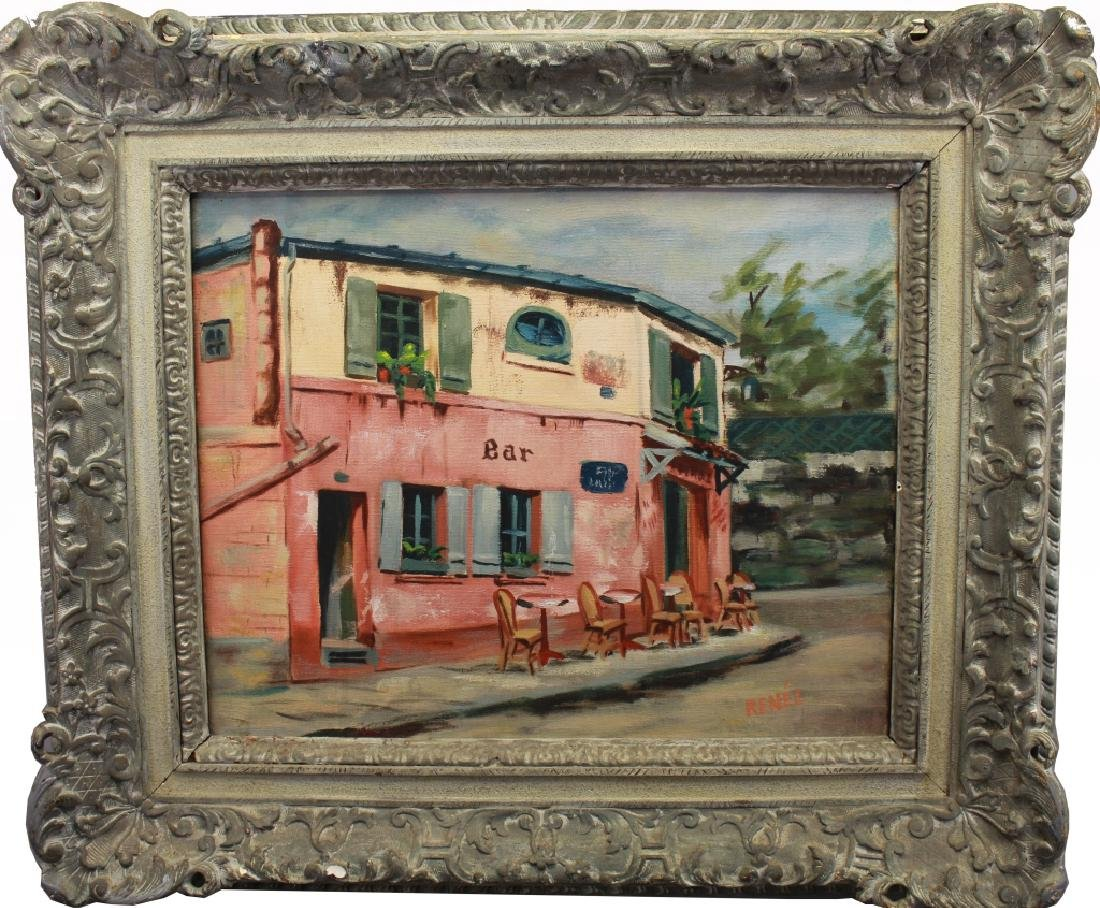 Signed 20th C. French Cafe Scene