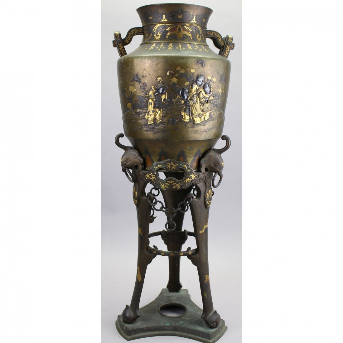 Exceptional Meiji Period Bronze/Gold Inlaid Censer