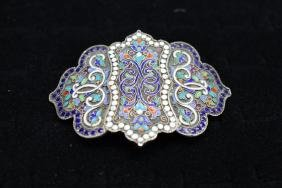 Russian Silver Cloisonne Belt Buckle