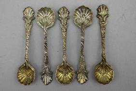 Antique Sterling Silver Oyster Form Spoons