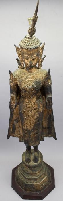 Large Early Antique Standing Bronze Buddha, Burma