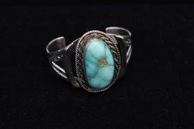 Old Pawn Silver & Turquoise Cuff Bracelet