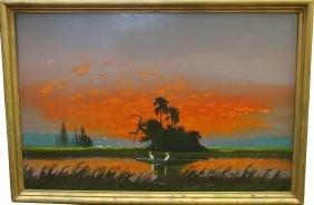Florida Highwaymen Painting, Egrets in Landscape