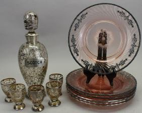 Silver Overlay Italian Decanter Set w/ Plates