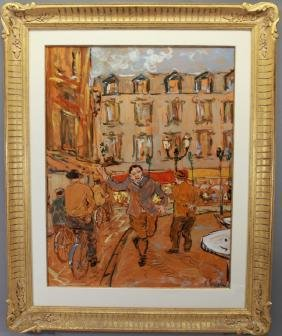 Signed French School 20th C. Street Scene