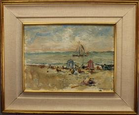 20th C. Signed Impressionist Beach Scene w Figures