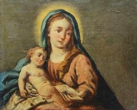 Old Master Madonna & Child Painting on Board