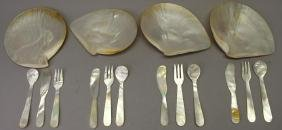 (16) Piece Mother of Pearl Dish/Utensil Set