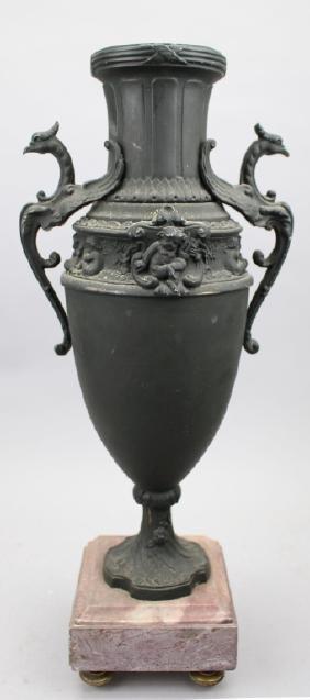 Antique Figural Bronze Urn on Marble Base