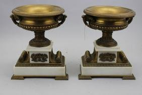 (2) Antique French Marble/ Bronze Tazzas