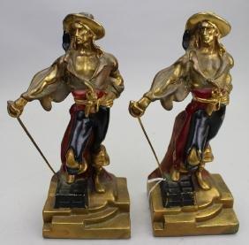 (2) Armor Bronze Pirate Bookends