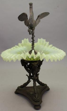 Antique Figural Bronze/Vaseline Epergne