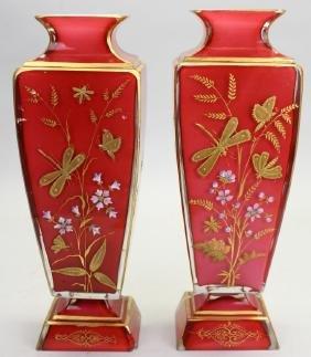 (2) French Glass Enameled Vases