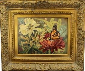 Signed 20th C. Oil/Board Painting of Butterfly