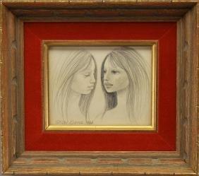 Margaret Keane (born 1927) Pencil drawing