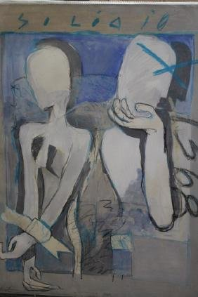 Large Signed, 1988 Mixed Media Figural Abstract