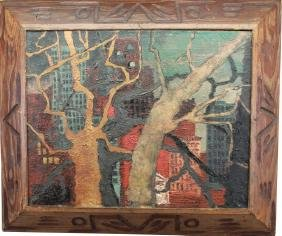 Signed 20th C. Cityscape w/ Trees