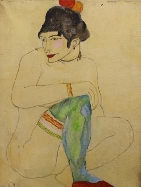 20th C. Female Reclining Nude Portrait