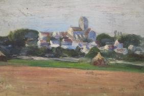 Signed 1894 Impressionist Painting of Town