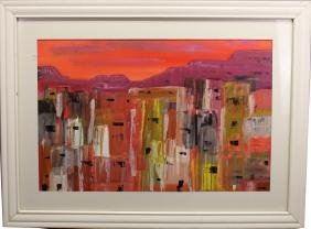 Signed 20th C. Painting, Southwestern Cityscape