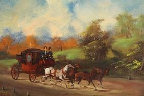 Antique Horse Drawn Carriage With Figures Painting