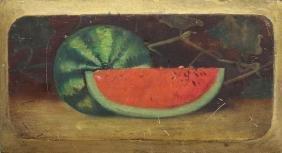 20th C. Oil/Board Still Life of Sliced Watermelon