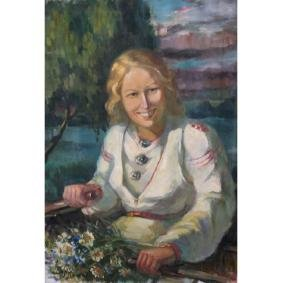 Early 20th C. Signed Portrait of Young Woman