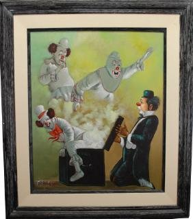 G. Frey, 20th C. Painting of Clowns